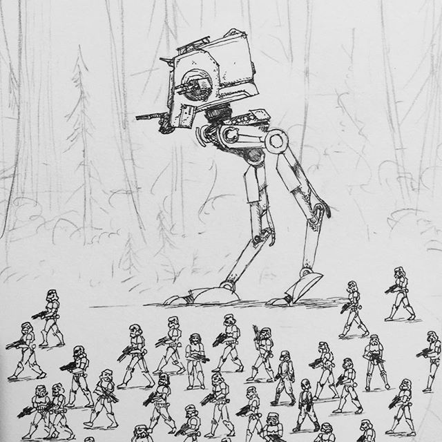 Drawing in progress for my Star Wars picture- this detail is quite close up- Stormtroopers are around 15mm tall. #starwars #rotj #endor #stormtroopers #penandink #atst #rotring #aristo #fineliner
