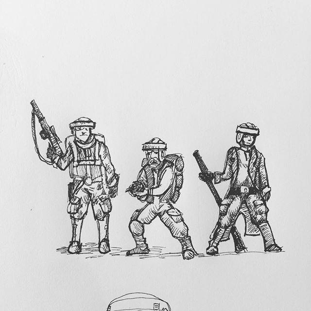Tiny rebel preparation sketches. #returnofthejedi #starwars #rebeltrooper #captainrex ? #fineliner #endor #rotring #penandink #penandinkdrawing