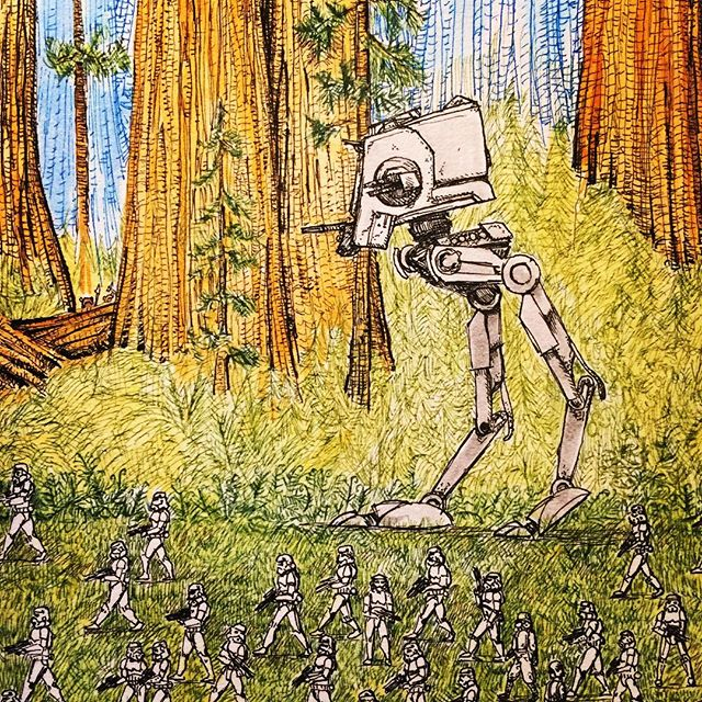 More work in progress for my Star Wars picture for the exhibition  @dynamitegallery #brighton #returnofthejedi #ewoks #starwars #stormtroopers #penandink #atst #scoutwalker #secoya #redwoodforest #inkwash #rotring #rohrerandklingner #aristo