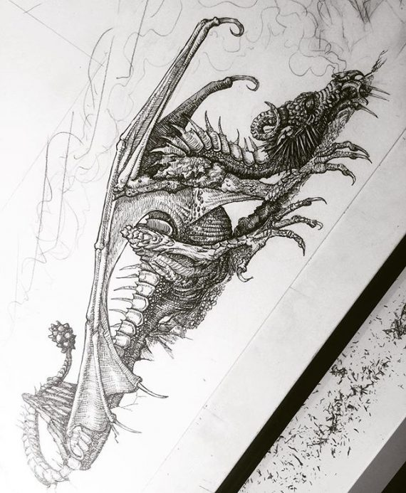 New large work in progress. Here is a small detail so far #dragon #rotring #penandink #fineliner #fantasyart #dungeonsanddragons #horns #spines