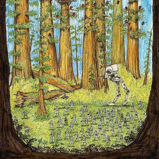 Full Endor picture scan part one. Currently on display and sale at Dynamite Gallery in Brighton as part of their War in the Stars exhibition. #penandink #inkwash  #stormtroopers #redwoodforest #returnofthejedi #rohrerandklingner #starwars #scoutwalker #atst #rotring #atisto
