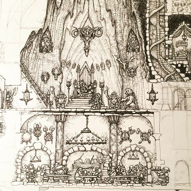 Detail of the big drawing I'm working on of an underground dwarf fortress. #rohrerandklingner #rotring #penandink #fineliner #dwarfkingscourt #dwarves #dwarffortress #dungeonsanddragons #rpg #fantasyart #illustration