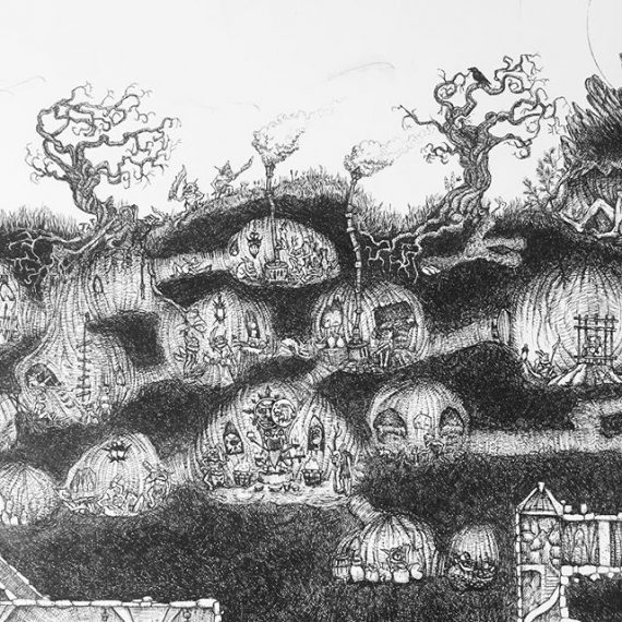 The goblin tunnels. Detail from the top of the big picture I'm working on. #rotring #penandink #fineliner #dungeonsanddragons #warhammer #lotr #goblins #dwarves #fantasyart #illustration #drawing
