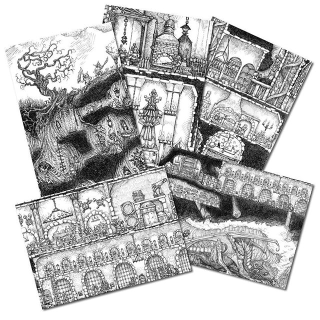 New stretch goal for for the Dwarven Stronghold Kickstarter. 5 Postcards showing details from the Stronghold free to all print and poster backers if we hit £1500. https://www.kickstarter.com/projects/930752437/the-dwarven-stronghold-art-print-and-poster #dwarves #dungeonsanddragons #oldhammer #warhammer #rpg #penandink #fantasyart