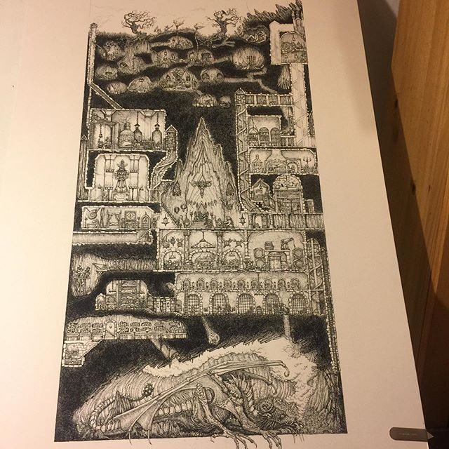 A1 and A2 Prints of the Dwarven Stronghold are available for pre-order though my Kickstarter. (1st stretch goal has also been reached) #dwarves #oldhammer #rpg #penandink #warhammer #tabletopgaming #fantasyart #rotring http://kick.st/2MjmWvF