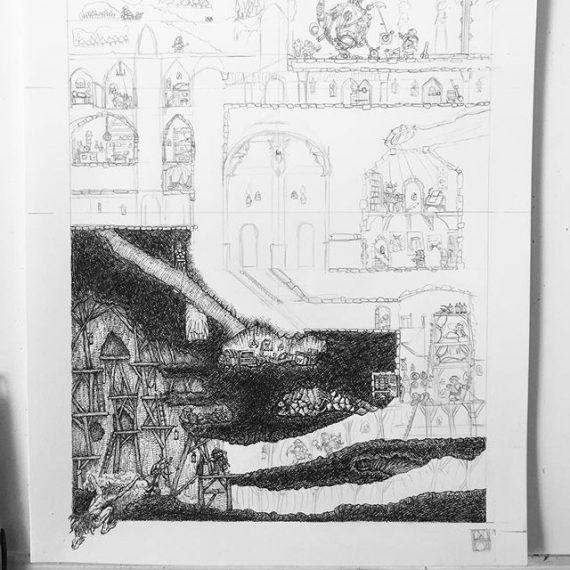 3 days left on the Dwarven Stronghold Print Kickstarter, so I've started work in the first stretch goal (an additional picture of an annex to Dwarven Stronghold.) #dwarves #rpg #dungeonsanddragons #oldhammer #warhammer #penandink #illustration #kickstarter #fantasyart http://kck.st/2MjmWvF