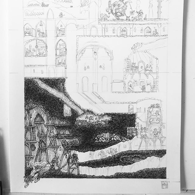 3 days left on the Dwarven Stronghold Print Kickstarter, so I've started work in the first stretch goal (an additional picture of an annex to Dwarven Stronghold.) #dwarves #rpg #dungeonsanddragons #oldhammer #warhammer #penandink #illustration #kickstarter #fantasyart http://kck.st/2MjmWvF