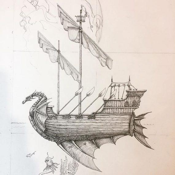 A detail of some more work in progress on the next big picture – the Sorcerer's Enclave. #oldhammer #penandink #rotring #sailingship #fineliner #dungeonsanddragons #fantasyart #robinhobb #warhammer #fantasyart
