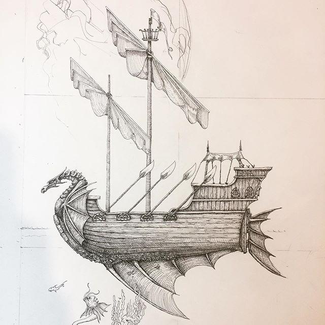 A detail of some more work in progress on the next big picture - the Sorcerer's Enclave. #oldhammer #penandink #rotring #sailingship #fineliner #dungeonsanddragons #fantasyart #robinhobb #warhammer #fantasyart