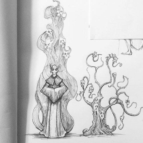 Necromancer, sketchbook work for my next big drawing. #necromancer #wizard #sketchbook #penandink #fantasyart #dungeonsanddragons