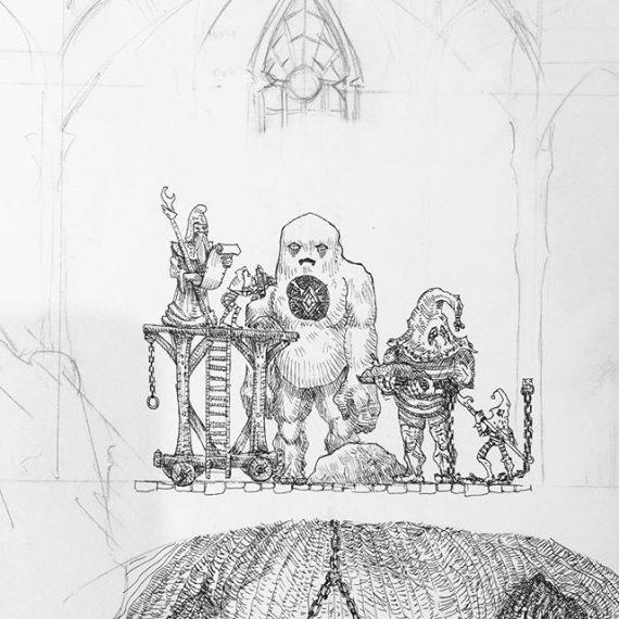 Golem workshop in the Sorcerers Enclave. #penandink #wizard #fantasyart #mage #dungeonsanddragons #illustration #rotring #aristo #oldhammer #warhammer #fineliner