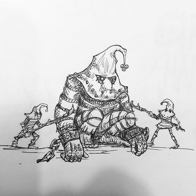 Another idea for Sorcerer's Minions stretch goal miniatures. #mage #wizards #dungeonsanddragons #oldhammer #wathammer #rotring #sketchbook #fantasyart