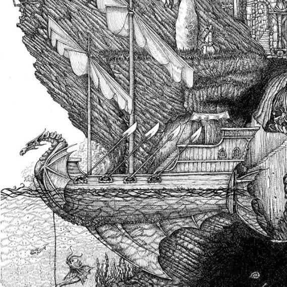48 hrs left on my Sorcerers' Enclave Art Print Kickstarter. And we have unlocked the dragon ferry cutaway extra free print, stretch goal. http://kck.st/2N4lZpi #penandink #fantasyart #warhammer #oldhammer #dungeonsanddragons #sailingship #fantasyart #galleon #wizard #mage #magicuser #rotring