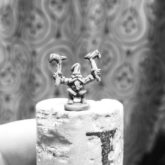 7mm tall 28mm scale Gnome Man Slayer I sculpted for fun. Second pic shows gnome with human sized @forgeofice figure. #gnome #28mm #dungeonsanddragons #faerie #folklore #tabletopminiatures #wargames #warhammer #oldhammer #miniaturesculpting #fantasy #fantasyart